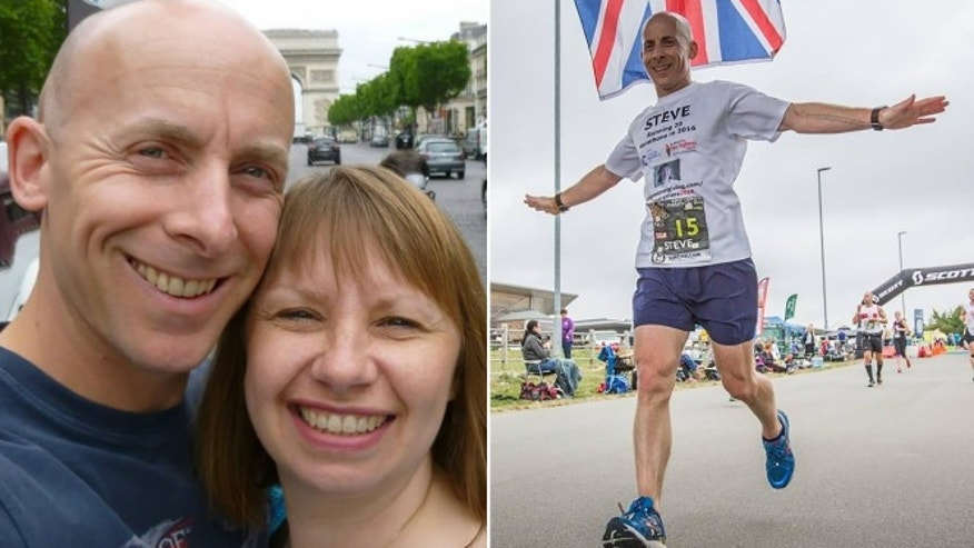 Steve Holder poses with his late wife, Sharon (left). He's running 20 marathons this year (one such marathon pictured on the right) to honor his and Sharon's 20 years of marriage after she died of breast cancer last year.