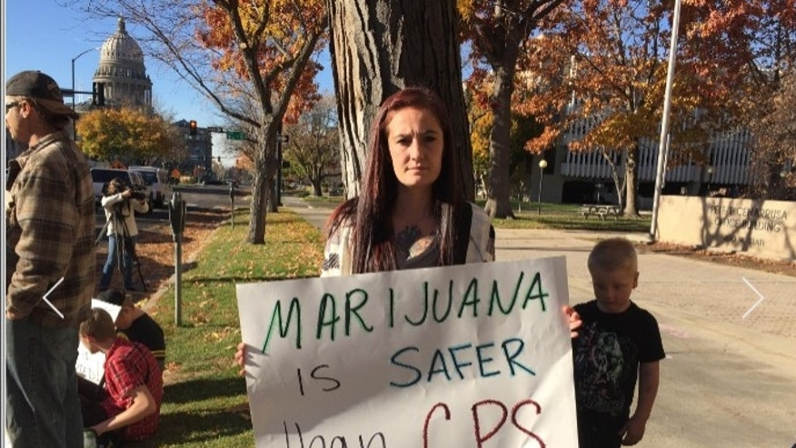 Kelsey Osborne and the Idaho Mom's for Marijuana group rallied outside of the department of Health and Welfare in Boise Thursday afternoon, calling for medical marijuana reform. (Fox42/KBOI photo)