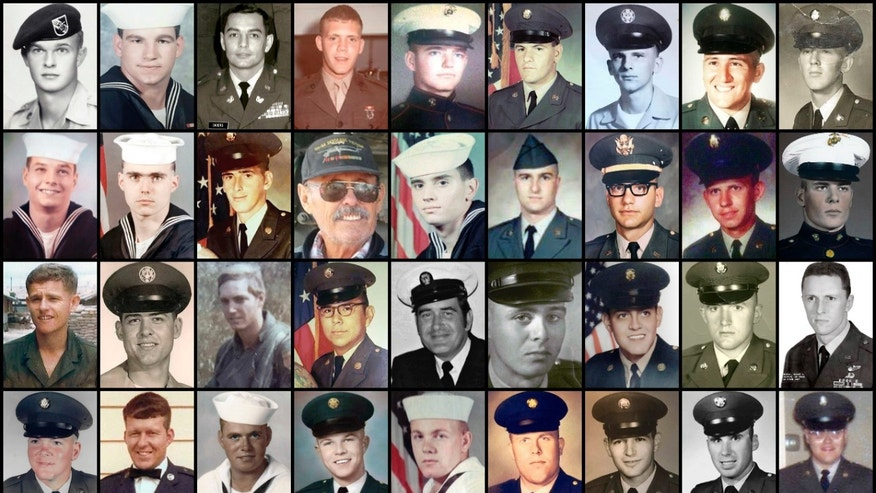 This combination of photos provided by their families shows some of the hundreds of U.S. veterans of the Vietnam War who suffered from cholangiocarcinoma, a rare bile duct cancer believed to be linked to liver fluke parasites in raw or poorly cooked river fish. This cancer takes decades to manifest itself. Top row from left are Andrew G. Breczewski, Arthur R. Duhon Sr., Clarence E. Sauer, Dennis Anthony Reinhold, Donald Edward Fiechter, George Jardine, Horst Alexander Koslowsky, Hugo Rocha and James Robert Zimmerman. Second row from left are James Vincent Kondreck, John J. Skahill Jr., Johnny Herald, Leonard H. Chubb, Louis A. DiPietro, Mario Petitti, Mark M. Lipman, Marvin H. Edwards and Michael Kimmons. Third row from left are Mike Brown, Paul Smith, Pete Harrison, Peter D. Antoine, Ralph E. Black, Ricardo Ortiz Jr., Richard Anthony Munoz, Robert J. Fossett Jr. and Robert L. Boring. Fourth row from left are Robert Lee Phelps, Ronald Lee Whitman, Thomas F. Brock, Thomas Michael Cambron, Thomas R. Kitchen Jr., W. Roy Leuenberger, Wayne Lagimoniere, William Boleslaw Klimek and William Francis Hanlon Jr. (AP Photo)