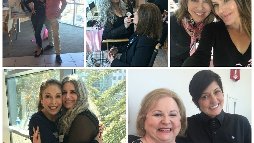 Lipstick Angels' Spa Day at Cedars-Sinai. Helfman, the founder, is pictured on the top right.