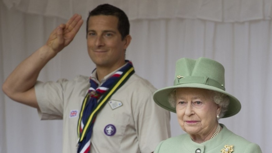 Britain's Queen Elizabeth attends the review of the National Parade of Queen's Scouts at Windsor Castle near London