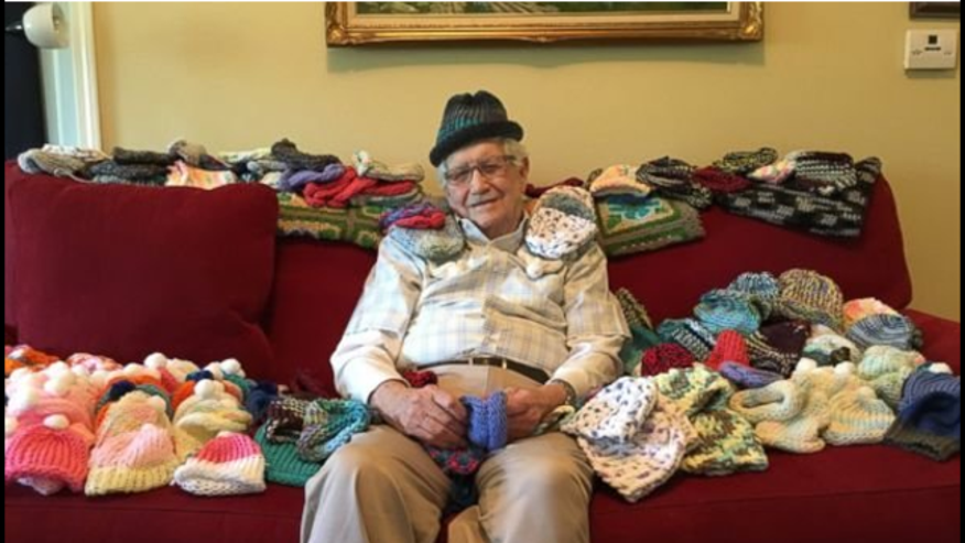 Ed Moseley, has knitted nearly 300 caps for premature babies.