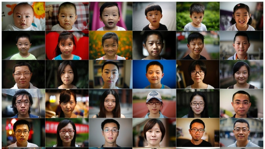 A combination picture shows 36 people, one person born each year that China's one child policy has been in place, made from a series of portraits shot in Shanghai between July 23 and September 20, 2014.