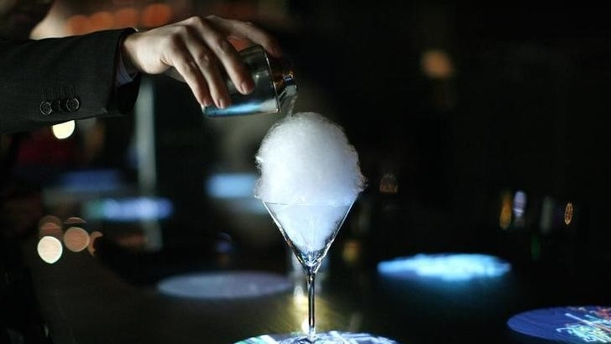"A ""magic mojito"" is poured at The Bazaar bar at the SLS Hotel in Beverly Hills"