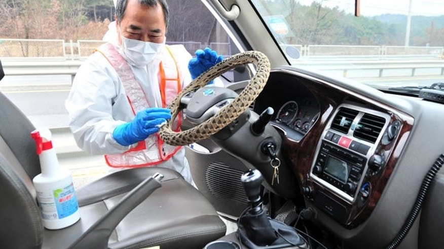 A South Korean health official disinfects a vehicle to prevent spread of bird flu in Pohang