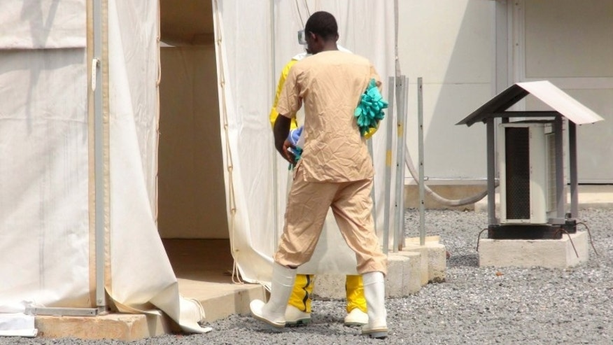 Nov. 17, 2015: A health worker enters a tent in an Ebola virus treatment center in Conakry, Guinea.