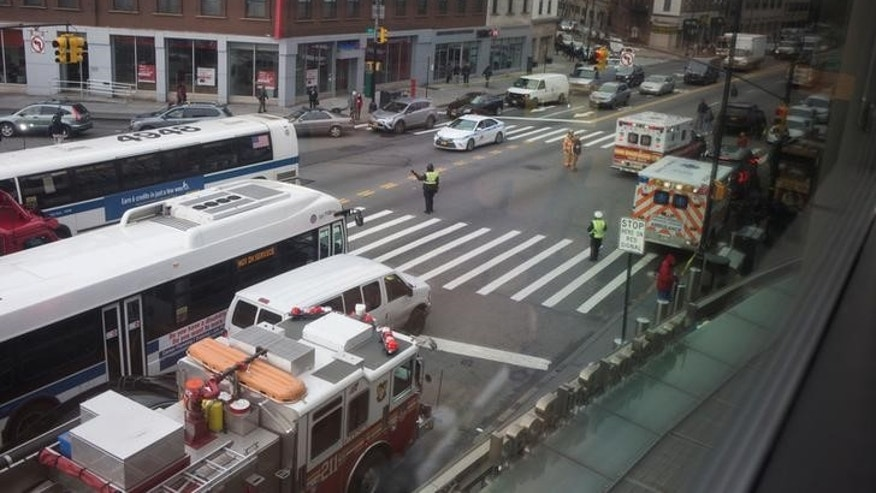 Emergency crews on the scene after a Long Island Railroad train derailed at Atlantic Terminal in Brooklyn New York City