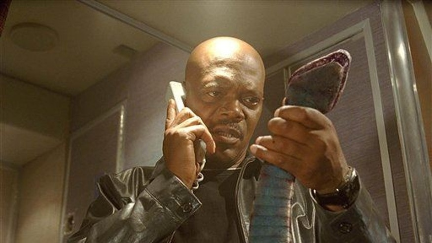 "Samuel L. Jackson in a scene from ""Snakes On A Plane."""