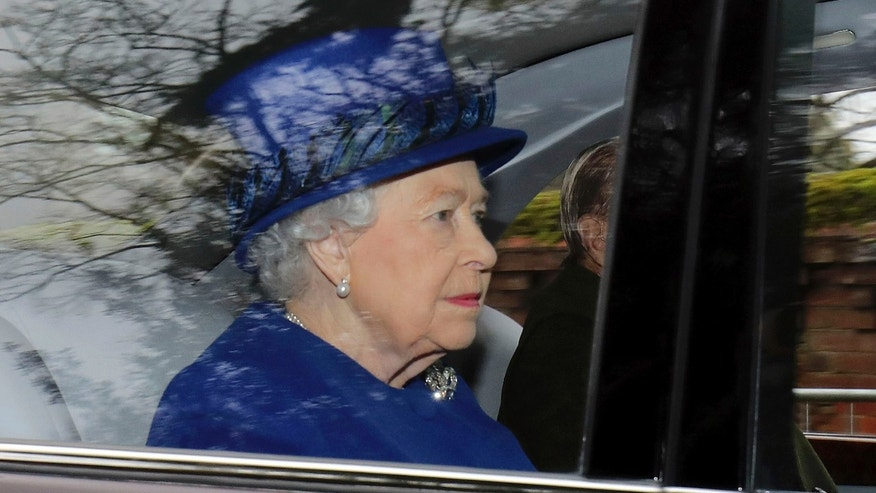 Jan. 8, 2017: Britain's Queen Elizabeth II in a car with Prince Philip, arrives to attend the morning church service at St. Mary Magdalene Church in Sandringham, England.
