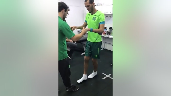 Pic shows: Helio Neto walking again after the survived aeroplane crash;