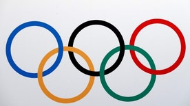 The Olympics rings logo is pictured in Lausanne