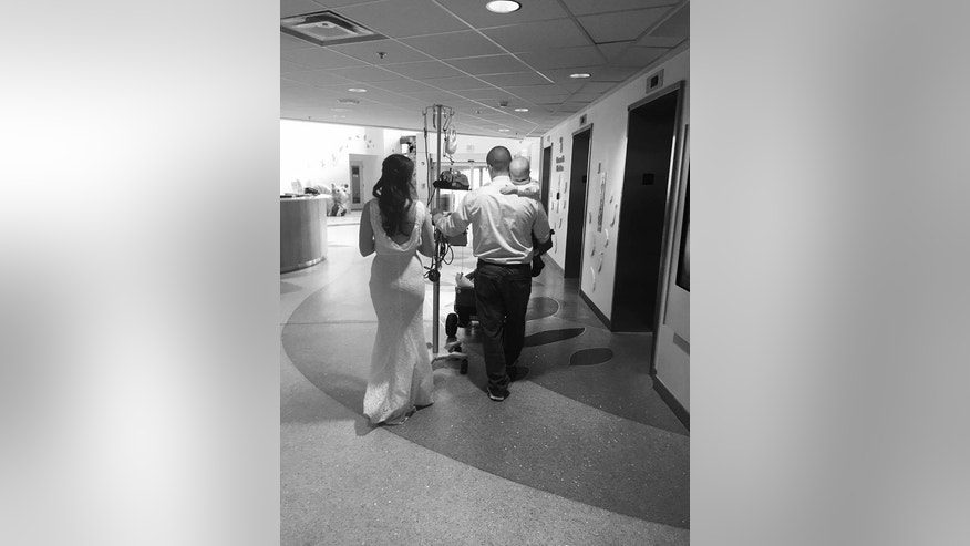 Celia and Geff moved their wedding to Nationwide Children's Hospital where their son is undergoing cancer treatment.