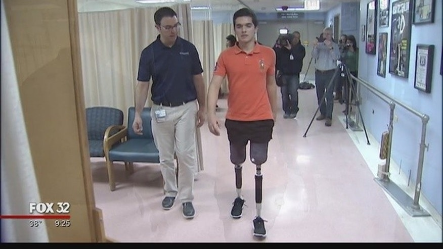 Vidal Lopez is walking again seven months after losing his legs in a car accident