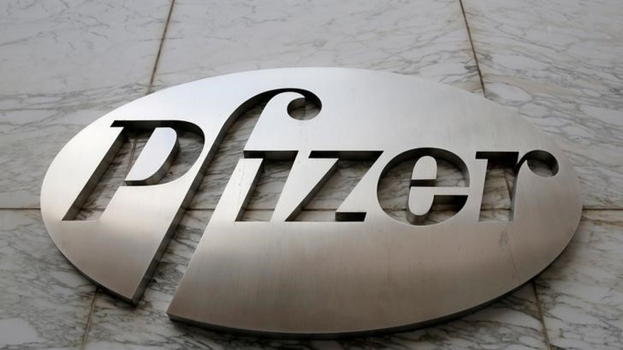 FILE PHOTO - The Pfizer logo is seen at their world headquarters in Manhattan, New York