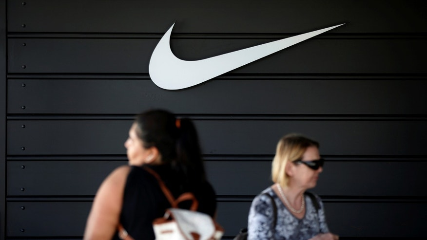 The logo of Dow Jones Industrial Average stock market index listed company Nike (NKE) is seen in Los Angeles, California, United States, April 12, 2016