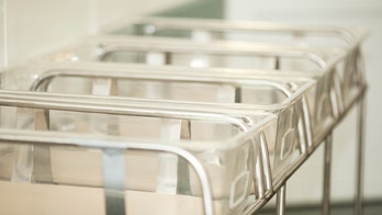 Close up of a range of empty baby containers in the maternity hospital