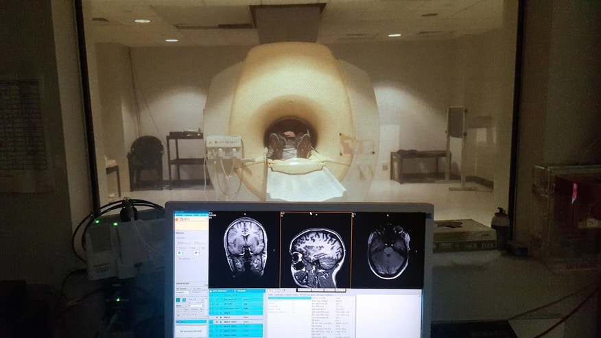 A study participant in a magnetic resonance imaging (MRI) scanner.