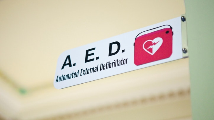 Automated External Defibrillator in public building. AEDs are portable devices to diagnose cardiac issues and treat them with defibrillation.
