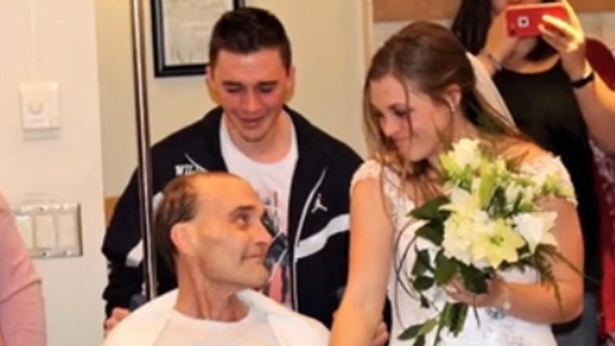 His daughter decided to move up her June wedding so that they could celebrate together.