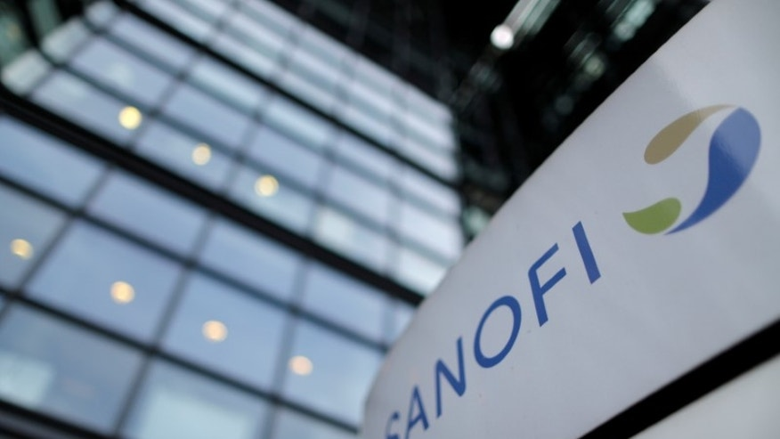 The logo of French drugmaker Sanofi is seen in front of the company's headquarters in Paris