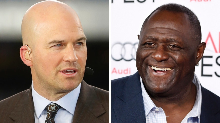 "Left: Matt Hasselbeck talks during ESPN's Monday Night Countdown. Right: Two-time Super Bowl champion Leonard Marshall smiles at a screening of the film ""Concussion."""