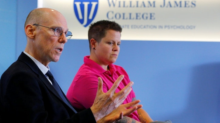 Dr. Bob Dingman speaks to Reuters at William James College of Psychology in Newton