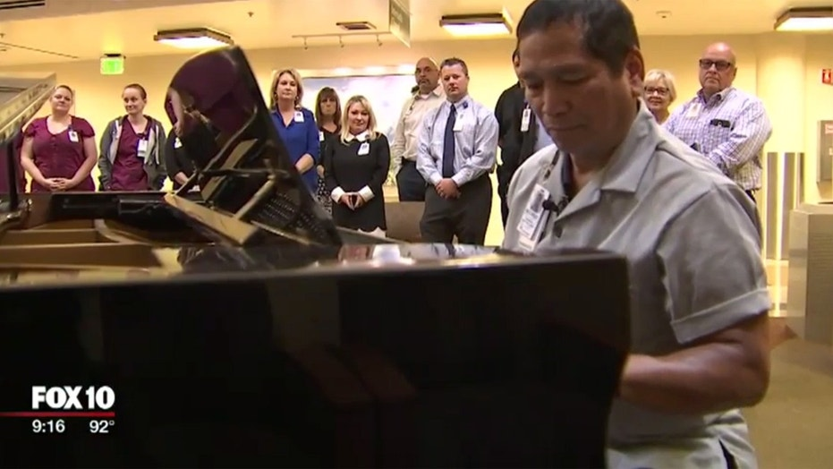 Rolando Maaba brings patients, staff and family members comfort with his piano playing.