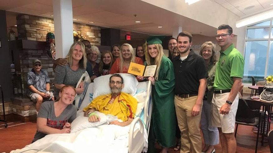 When doctors told Jack Bailey he would have to miss his daughter's graduation, they brought the ceremony to him.