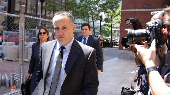Barry Cadden, president of the New England Compounding Center, followed by members of his legal team, arrive at the federal courthouse for sentencing Monday, June 26, 2017, in Boston. A verdict of guilty on charges of mail fraud, racketeering conspiracy and racketeering had been reached on Wednesday, March 22, 2017 in the case of a fungal meningitis outbreak from tainted steroids manufactured by Cadden's pharmacy which killed dozens and sickened hundreds of people in 2012. (AP Photo/Stephan Savoia)