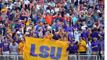 LSU fans celebrate after a solo home run by Antoine Duplantis in the sixth inning of Game 1 of the NCAA College World Series baseball finals against Florida in Omaha, Neb., Monday, June 26, 2017. (AP Photo/Matt Ryerson)