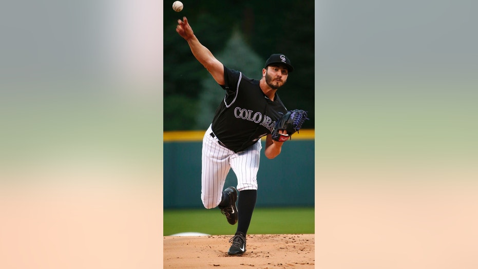 Aug. 14, 2017: Colorado Rockies starting pitcher Chad Bettis throws to the plate during the first inning of a baseball game against the Atlanta Braves in Denver.