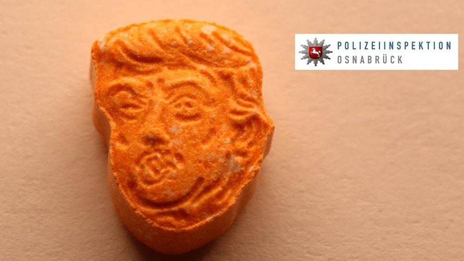 This undated picture provided by Polizeiinspektion Osnabrueck police shows an ecstasy pill.