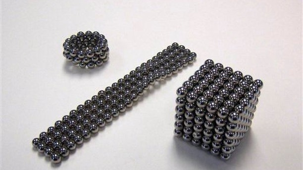 This image released by the Consumer Product Safety Commission shows Buckyballs, a high-powered desktop magnetic toy for adults.