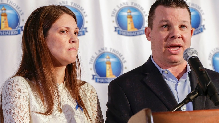 Sept. 27, 2017: Matt and Melissa Graves, parents of Lane Thomas, the 2-year-old Nebraska boy who was killed by an alligator last year at Walt Disney World, speak at a news conference in Omaha, Neb.