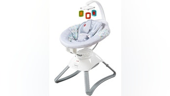 This image provided by the Consumer Product Safety Commission shows a Soothing Motions Seat. The motorized infant seat is being recalled by Fisher-Price because of risk of a fire hazard. (Fisher-Price/Consumer Product Safety Commission via AP)