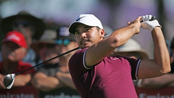 Australia's Jason Day hits from the 17th tee during the opening round of the Australian Open Golf tournament in Sydney, Thursday, Nov. 23, 2017. (AP Photo/Rick Rycroft)