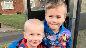 (L-R) Ollie, 3 and Finley,5 Cripps. See National copy NNHERO: A big brother who was the 'perfect' bone marrow match for his sick younger sibling even wants to shave his hair - so they can match. Brave Finley Cripps, five, is donating marrow to younger brother Ollie, three, after he was diagnosed with acute myeloid leukaemia. Proud full-time mum Fiona, 26, says the brothers are 'very close' and have both been 'brilliant', despite the testing ordeal.