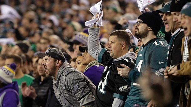 Fans cheer during the first half of the NFL football NFC championship game between the Philadelphia Eagles and the Minnesota Vikings Sunday, Jan. 21, 2018, in Philadelphia. (AP Photo/Matt Slocum)