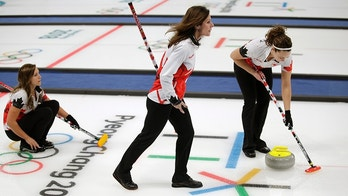 Canadian curler Cheryl Bernard, center, joins a training session for the women's curling matches at the 2018 Winter Olympics in Gangneung, South Korea, Monday, Feb. 12, 2018. Bernard, 51, is the oldest athlete competing at the Pyeongchang Olympics. (AP Photo/Aaron Favila)