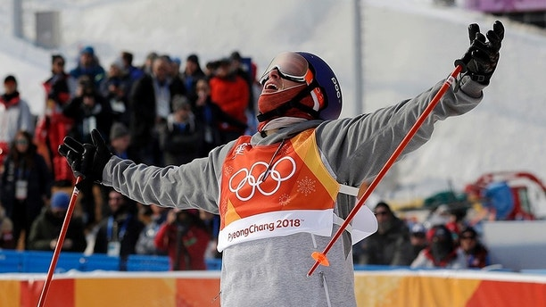 Silver medal winner Nick Goepper, of the United States, reacts to his run during the men's slopestyle final at Phoenix Snow Park at the 2018 Winter Olympics in Pyeongchang, South Korea, Sunday, Feb. 18, 2018. (AP Photo/Gregory Bull)