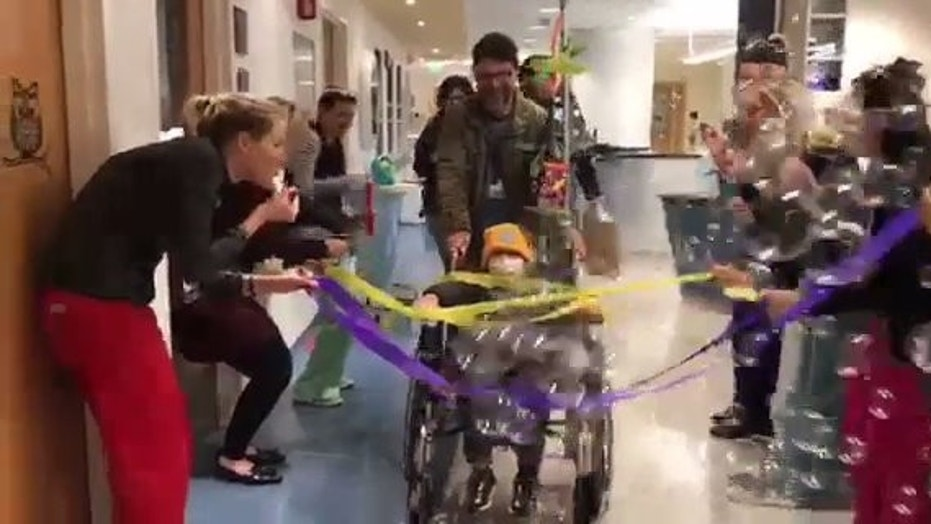 Hospital staff at Boston's Children Hospital organized a bubble parade for 5-year-old boy after he underwent a bone marrow transplant.