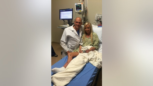 """Kristy decided to have her leg amputated in July 2017, in St Clare's Hospital in St Louis. See SWNS story NYLEG; A woman who hid her """"ugly"""" leg under trousers for two decades now has the confidence to wear dresses - after making the decision to amputate it. For years Kristy Wimberly, 32, was embarrassed by her right leg which had stopped growing at the same pace as her other when she was diagnosed with a rare spinal cord tumor, astrocytoma, at age six. The nerves connecting her spinal cord to her leg were damaged during surgeries to remove the tumor and further compromised during a surgery to insert titanium rods in her back to treat scoliosis. The damage to Kristy's nerves meant the growth of her right leg was stunted, leaving it a full two inches shorter than the other and unable to walk without a brace. The executive assistant, who has undergone 19 surgeries to try and lengthen her leg, was called a """"cripple"""" by high school classmates and became obsessed with concealing her disability, never wearing shorts or dresses even in the depths of summer. The mom-of-one, from St Louis in Missouri, was confined to a wheelchair and crutches for months after each surgery and was plagued with recurrent infections in wounds caused by the pressure of her brace. Kristy said her whole life was changed when she decided to have her leg amputated in July 2017 in St. Clare Hospital, and now proudly shows off her high-tech prosthetic limb with confidence.  Kristy said: """"I have literally never worn shorts or a dress in 20 years."""