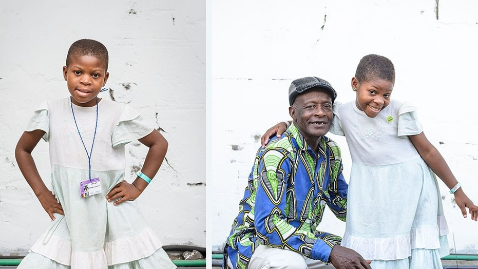 BEFORE/AFTER: 11-year-old Justine before her surgery to correct her severely bowed legs. The girl from Cameroon pictured with her grandfather after the transformative procedure.