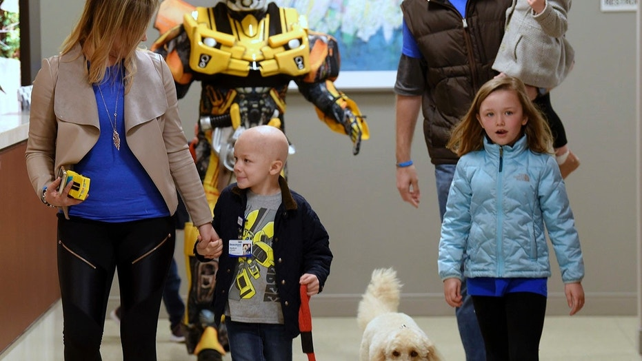 Hudson Brown walks with his hospital therapy dog and family members to ring the 'end-of-treatment' bell.