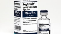 This 2015 photo made available by Merck shows the drug Keytruda. Research released on Monday, April 16, 2018 suggests that many more lung cancer patients may benefit from treatments that boost the immune system, which have scored some of their biggest wins until now in less common cancer types. Using one of these drugs _ Merck's Keytruda _ with usual chemotherapy extended survival for people newly diagnosed with the most common type of cancer that had spread beyond the lungs, one study found. (Michael Lund/Merck via AP)