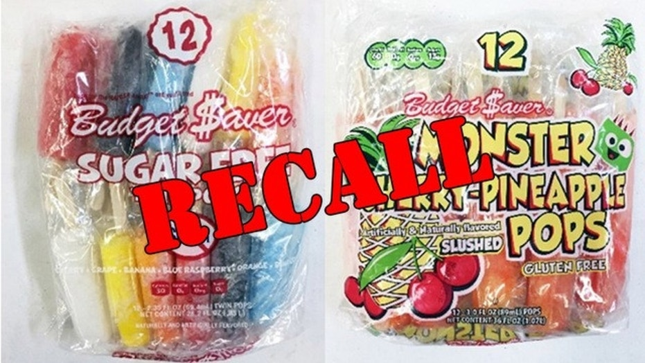 Ziegenfelder Company issued a recall for it's Budget $aver Cherry Pineapple Monster Pops and Sugar Free Twin Pops.