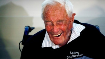 David Goodall, 104, reacts during a news conference a day before he intends to take his own life in assisted suicide, in Basel, Switzerland May 9, 2018. REUTERS/Stefan Wermuth     TPX IMAGES OF THE DAY - RC1F7B429000