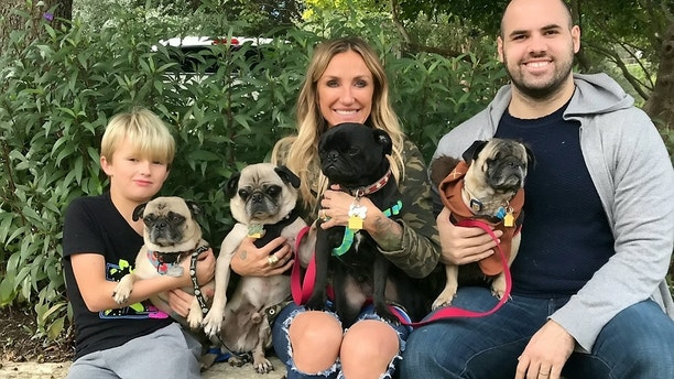 Dex with his family, Beth, Mark and Noah and his pug brothers.  See SWNS story NYMANGE; A pug whose entire body was plagued with mange so severe he almost lost his eyesight is unrecognizable five months after he was rescued from a city street. Dex, a one-year-old pug, was suffering from severe demodectic mange when he was picked up by an animal charity in January and had scratched at his eyes so much he had developed corneal ulcers. The pup was also very underweight when he was rescued and his vets believe his severe skin condition was neglected by his owners for up to six months before he was heartlessly abandoned. The caring staff at Pug Rescue, in Austin, Texas, worked hard to nurse hairless Dex back to health, placing medicated drops into his eyes every two hours to save his sight. To treat his mange, Dex was placed on tablets and took medicated baths every second day to help his skin heal and his hair regrow. Five months on the pug is unrecognizable. Signe Corbin, 58, medical director of Pug Rescue Austin, said Dex's case was one of the most severe she's come across during her nine years