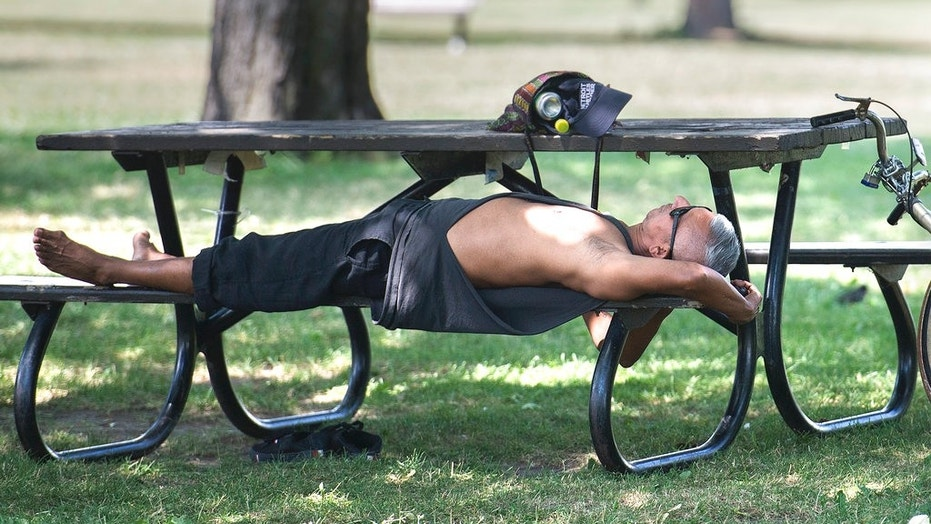 In this Thursday, July 5, 2018 photo, a man relaxes under a tree in a park in Montreal. Heat warnings are in effect across southern Quebec, Ontario and the Atlantic region of the country, but temperatures are expected to drop overnight.
