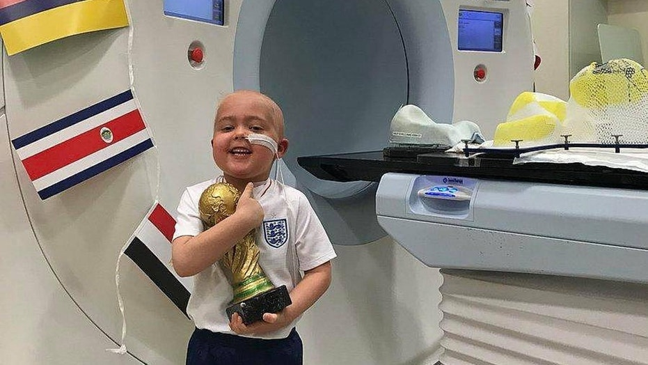 "After surviving six weeks of radiotherapy treatment five-year-old Ben Williams received his very own ""World Cup"" trophy"